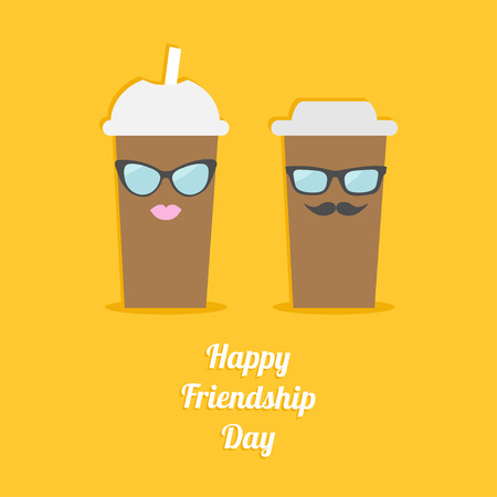 friendship day: Happy Friendship Day Two disposable coffee paper cups with sunglasses mustache and lips. Flat design Vector illustration
