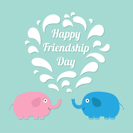 friendship day: Happy Friendship Day Pink and blue elephants with heart fountain Flat design Vector illustration