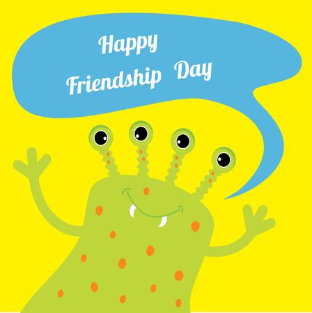 amicizia: Felice Friendship Day Mostro sveglio verde con bolla testo parlato. Design piatto. Illustrazione vettoriale