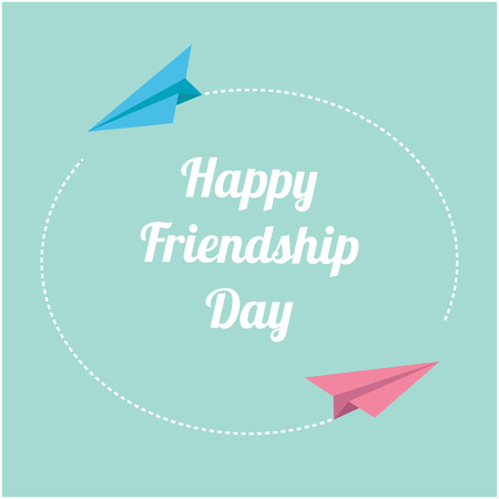 friendship day: Happy Friendship Day Pink and blue origami paper planes. Round dash frame in the sky. Flat design Vector illustration