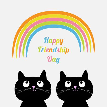friendship day: Happy Friendship Day Rainbow Two cute cartoon cat. Flat design style. Vector illustration