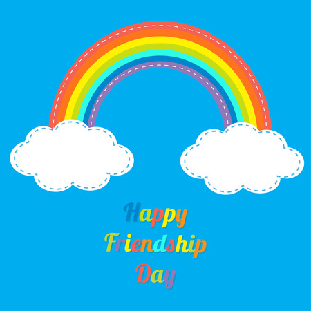 friendship day: Happy Friendship Day Rainbow and clouds in the sky. Dash line. Flat design Vector illustration.