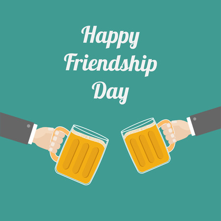 clink: Happy Friendship Day Two hands and clink beer glasses mug with foam cap froth bubble. Flat design Vector illustration