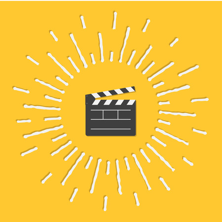 film industry: Open movie clapper board template icon. Flat design style. Shining effect dash line circle Vector illustration