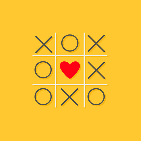 romance strategies: Tic tac toe game with cross and red heart sign mark in the center Love card Flat design Yellow background Vector illustration