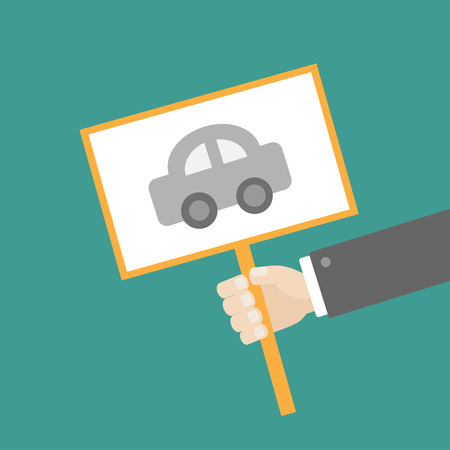 car plate: Businessman hand holding paper blank sign plate with car on the stick Flat design Vector illustration