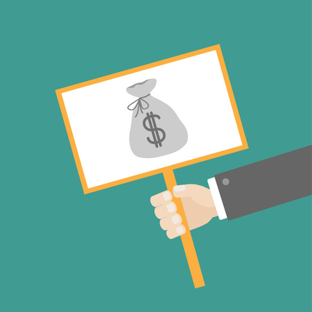 hombre caricatura: La celebraci�n de la mano del hombre de negocios papel placa de signo en blanco con una bolsa de dinero en el dise�o del palillo plano Vector ilustraci�n