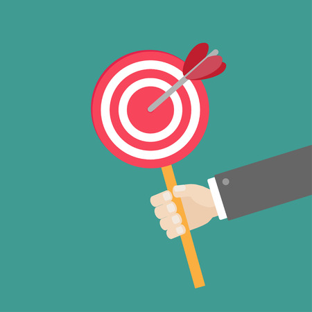 Businessman hand holding paper target with arrow on the stick Flat design Vector illustration