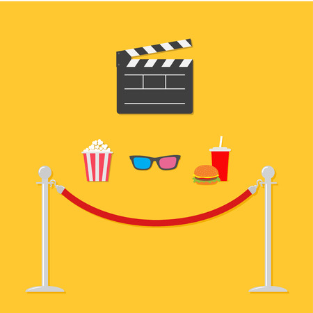 rope barrier: Open movie clapper board 3D glasses popcorn soda hamburger template icon. Red rope barrier stanchions turnstile  Flat design style. Vector illustration Stock Photo
