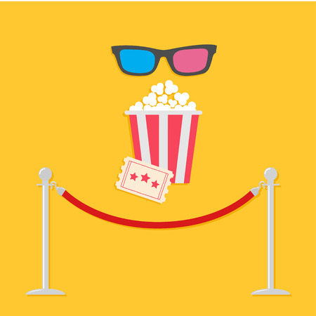 stanchion: Red rope barrier stanchions turnstile 3D glasses big popcorn and ticket. Cinema icon in flat design style. Vector illustration