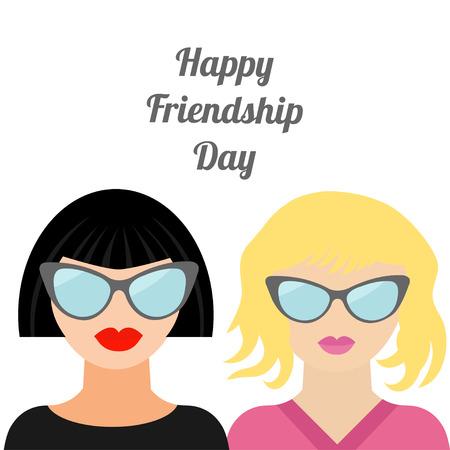 amicizia: Felice Friendship Day Moda biondo brunet Migliori amici Design piatto vettore Vettoriali