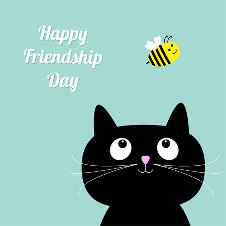 amistad: Feliz D�a de la Amistad Gato lindo de la historieta. Abeja estilo Dise�o plano. Ilustraci�n vectorial