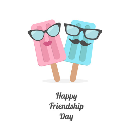 Happy Friendship Day Ice cream couple with lips, mustaches and eyeglasses. Flat design Vector illustration. Çizim