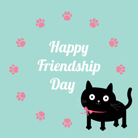 amicizia: Felice Friendship Day Cat e zampa stampa design del telaio in tondo. Design piatto. Illustrazione vettoriale