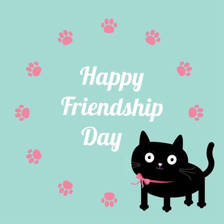 amistad: Feliz Día de la Amistad y la impresión de la pata del gato plantilla de marco redondo. Diseño plano. Ilustración vectorial