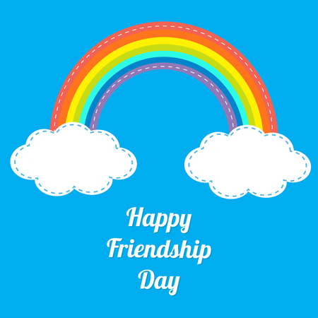 friendship day: Happy Friendship Day Rainbow and white clouds in the sky. Dash line. Flat design Vector illustration.