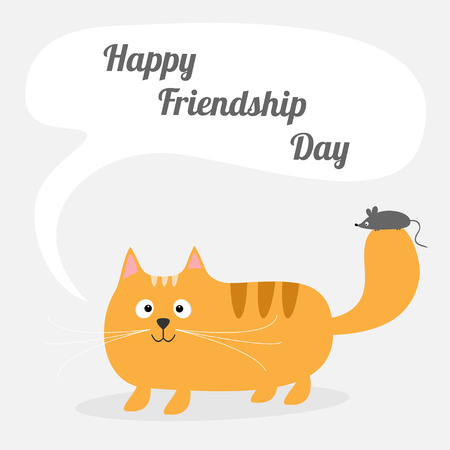 friendship day: Happy Friendship Day Cute cartoon red cat with mouse Talk think bubble Card. Kids background Flat design Vector illustration