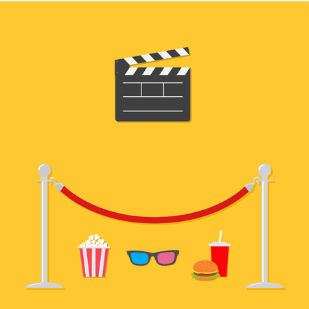 stanchion: Red rope barrier stanchions turnstile Open movie clapper board 3D glasses popcorn soda hamburger template icon. Flat design style. Vector illustration