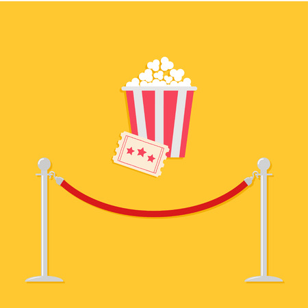 film industry: Red rope barrier stanchions turnstile Big popcorn and ticket. Cinema icon in flat design style. Vector illustration