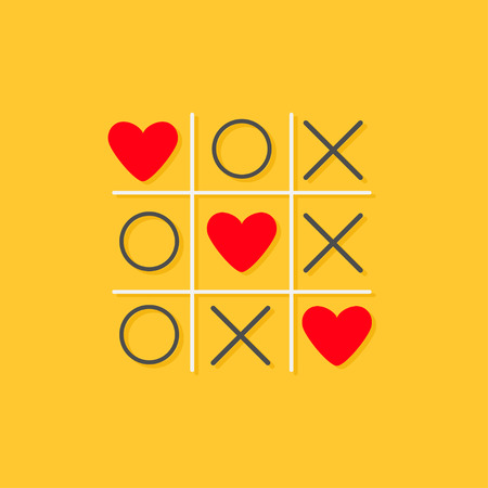 Tic tac toe game with cross and three red heart sign mark Love card Flat design Yellow background Vector illustration Stock Illustratie