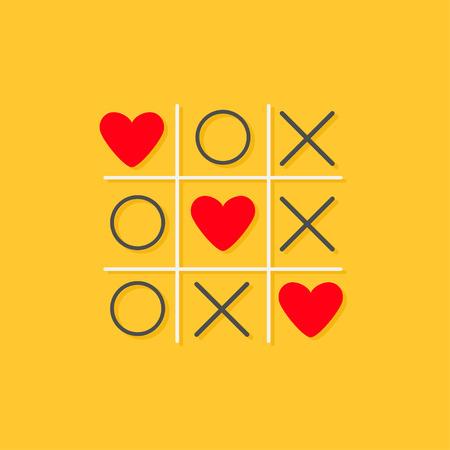Tic tac toe ゲーム クロスと 3 つの赤いハート記号マーク愛カード フラット デザイン黄色の背景ベクトル イラスト