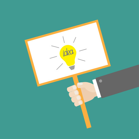 billboard blank: Businessman hand holding paper blank sign plate with idea light bulb on the stick Flat design Vector illustration