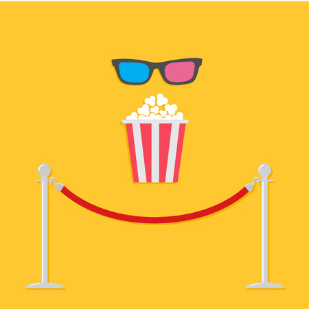 stanchion: Red rope barrier stanchions turnstile 3D glasses big popcornCinema icon in flat design style. Vector illustration
