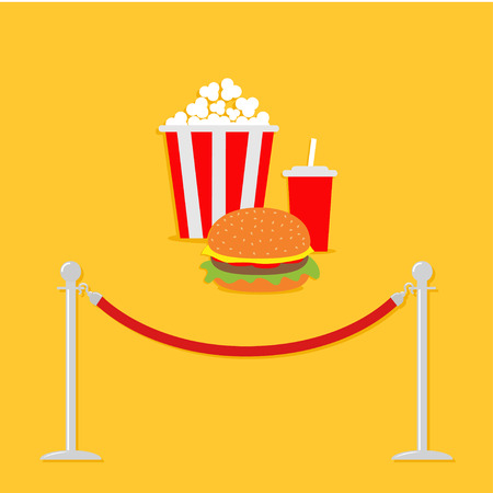 rope barrier: Red rope barrier stanchions turnstile Popcorn, hamburger, soda with straw. Cinema icon in flat design style. Vector illustration Illustration