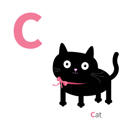 cat alphabet: Letter C Cat Zoo alphabet. English abc with animals Education cards for kids Isolated White background Flat design Vector illustration