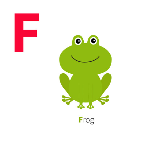 Letter F Frog Zoo alphabet. English abc with animals Education cards for kids Isolated White background Flat design Vector illustration
