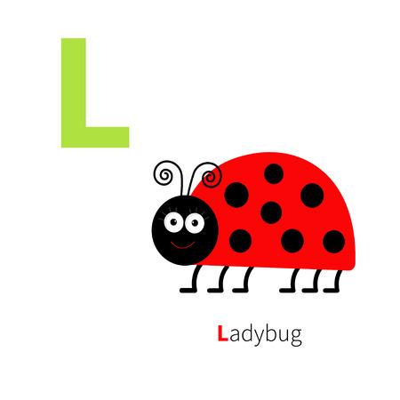 l background: Letter L Ladybug Zoo alphabet. English abc with animals Education cards for kids Isolated White background Flat design Vector illustration Illustration