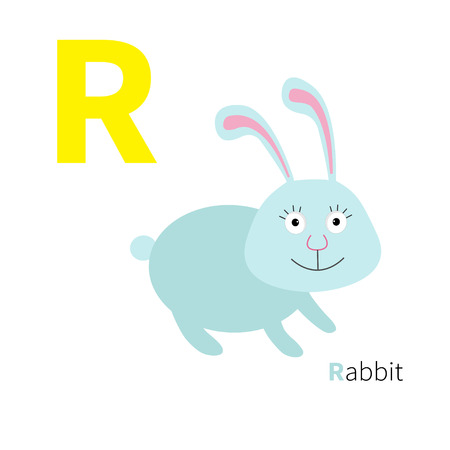 abc kids: Letter R Rabbit Zoo alphabet. English abc with animals Education cards for kids Isolated White background Flat design Vector illustration Illustration