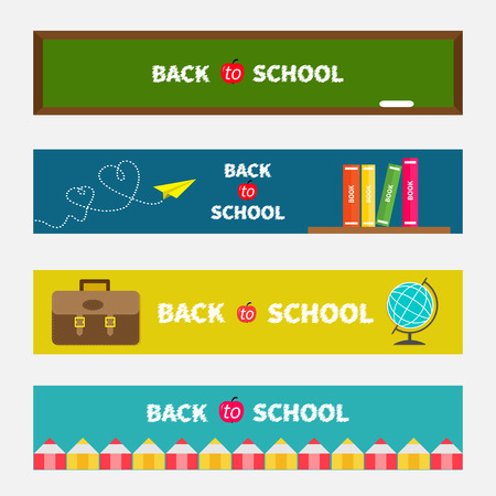 school kid: Back to school banner set Green board, world globe, book shelf, origami paper plane, schoolbag briefcase, pencil frame. Bookmark collection Flat design Vector illustration