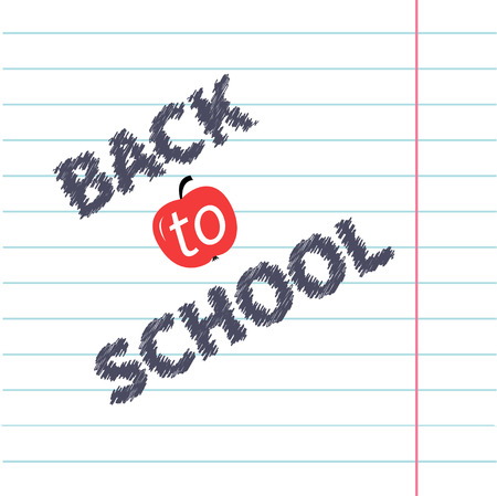 school illustration: Back to school chalk text on paper sheet background Lined exercise book Flat design Vector illustration Illustration