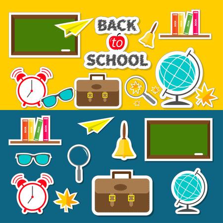 schoolbag: Back to school icon set Green board, bell, alarm clock, world globe, glasses, book shelf, origami paper plane, schoolbag briefcase, maple leaf. Flat design Vector illustration Illustration