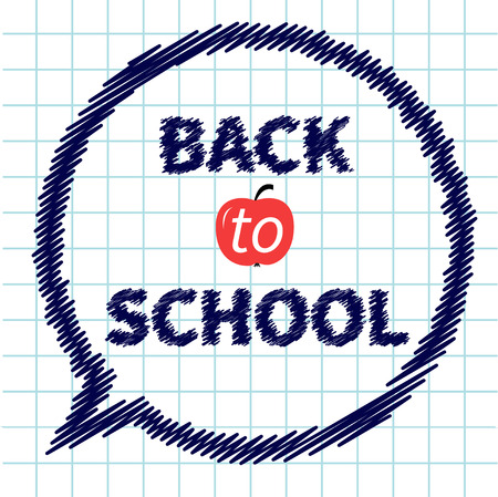 doodle text: Back to school doodle text on paper sheet background Think talk bubble Exercise book Flat design Vector illustration