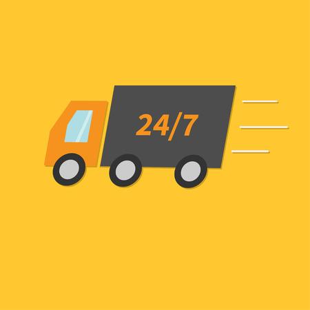 speed line: Consegna libera servizio di auto. Camion con velocit� di linea. Veloce concetto di trasporto negozio. 24 7 piatto disegno stile illustrazione vettoriale Vettoriali
