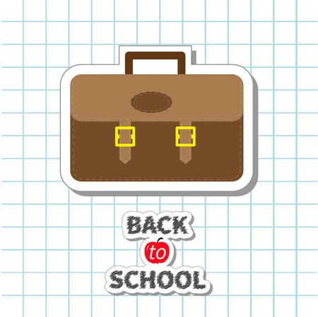 apple paper bag: Back to school Big brown schoolbag briefcase on paper sheet background Exercise book Flat design Vector illustration
