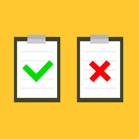 check mark sign: Yes and No check mark sign on clipboard Lined paper notebook Flat design  illustration