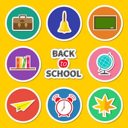schoolbag: Back to school round icon set. Green board, bell, alarm clock, world globe, book shelf, paper plane, schoolbag, maple leaf. Yellow background Chalk text Flat design  illustration