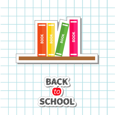 education cartoon: Back to school card. Pencil, light bulb idea, stack of books, apple. Paper sheet background Exercise book Flat design style.