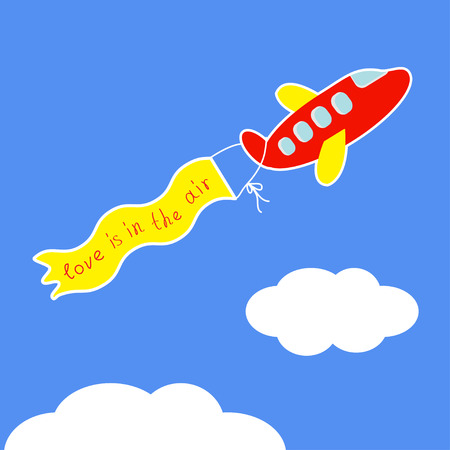 airplane wing: Cartoon red plane. Ribbon with words Love is in the air Flat design  illustration