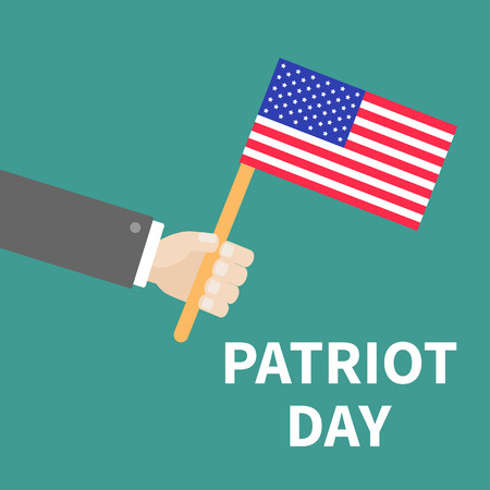 patriot: Hand with american flag Patriot Day background flat design Card  Vector illustration
