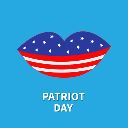 patriots: Lips with star and strip Patriot day Flat design Vector illustration