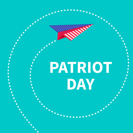 patriot: Patriot Day background Paper plane. Dash line spiral Vector illustration