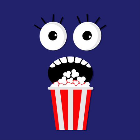 scary face: Scary face emotions in the dark Popcorn. Cinema icon flat design style. Movie background  Vector illustration Vettoriali