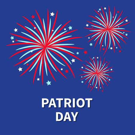 independent day: Patriot day Three Fireworks night sky Star and strip  Flat design Vector illustration