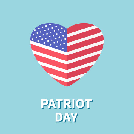 patriot: Heart shape flag Star and strip Patriot day Flat design