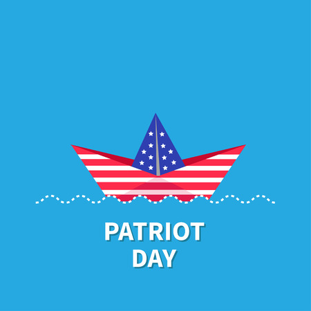 paper boat: Patriot Day Paper boat. Dash line. Blue background Flat