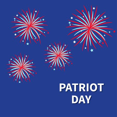 patriot: Patriot day Fireworks night sky Star and strip  Flat design